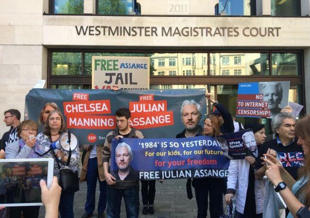 Apoiadores de Julian Assange em Londres, 30 de maio de 2019