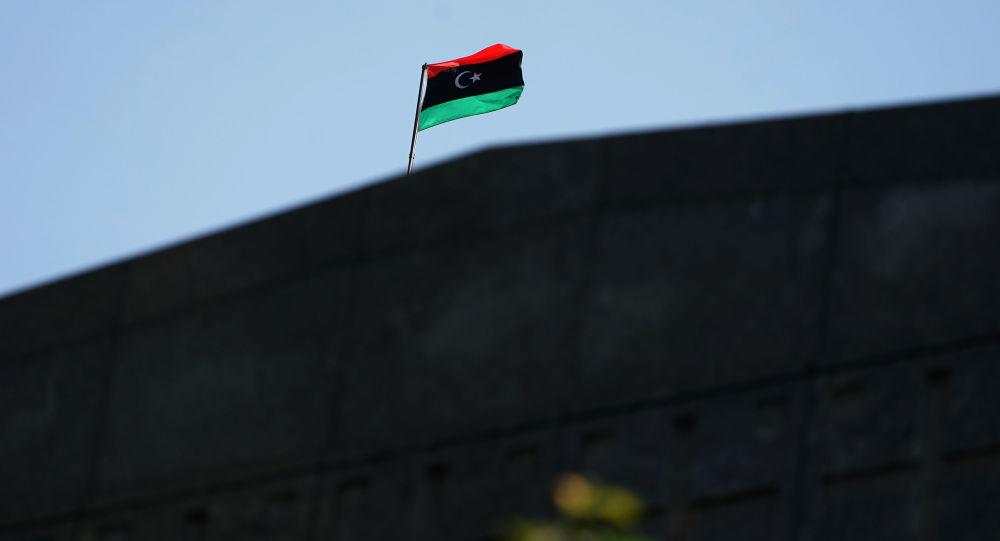 A bandeira da Líbia avistada em Manhattan de Nova York.