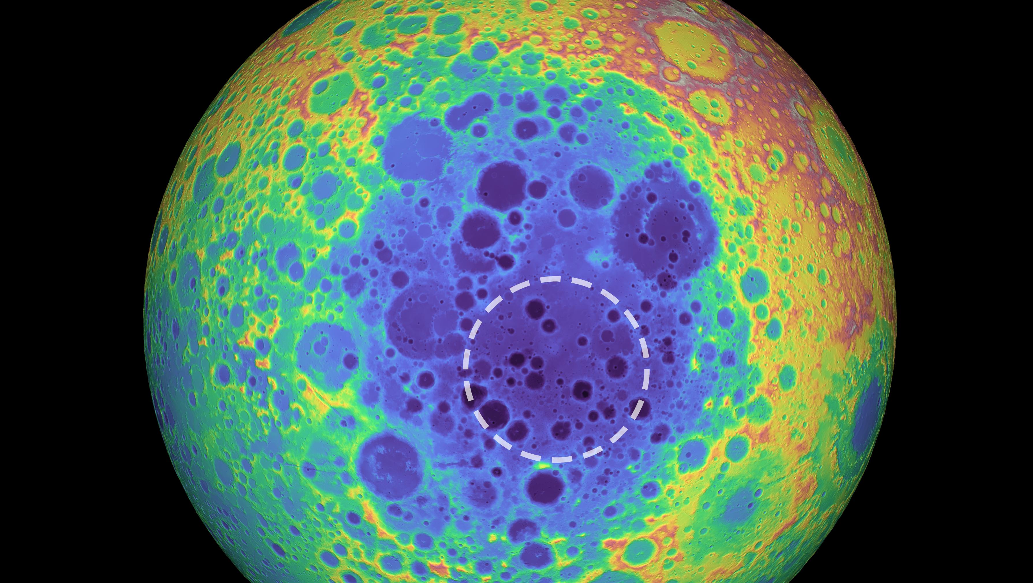 Foto do lado escuro da Lua pintado artificialmente