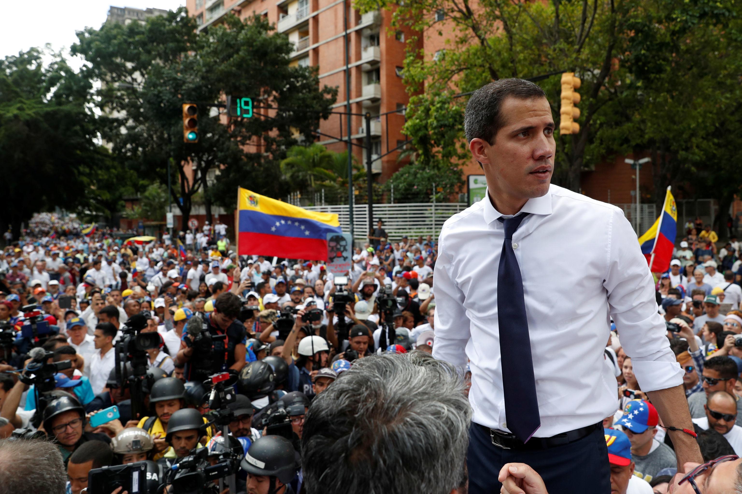 Juan Guaidó, líder da oposição venezuelana, participa de manifestação contra o governo do presidente Nicolás Maduro, em Caracas, Venezuela, 5 de julho de 2019