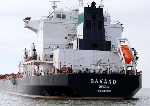 Navio iraniano Bavand é visto perto do porto de Paranaguá, Brasil, 18 de julho de 2019