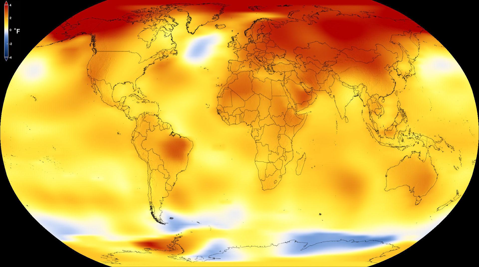 Nasa divulga aumento das temperaturas do planeta em 2017