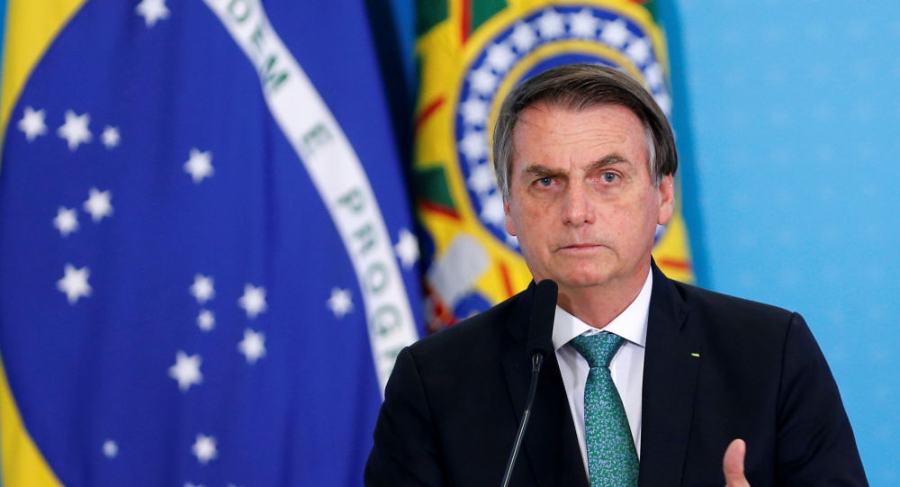 Presidente do Brasil, Jair Bolsonaro, discursa no Palácio do Planalto, Brasília, 24 de julho de 2019
