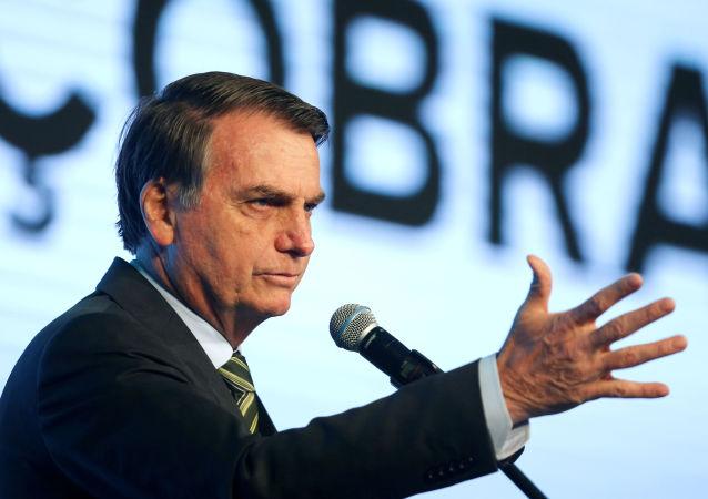 Poresidente Jair Bolsonaro participa de conferência em Brasília, 21 de agosto de 2019