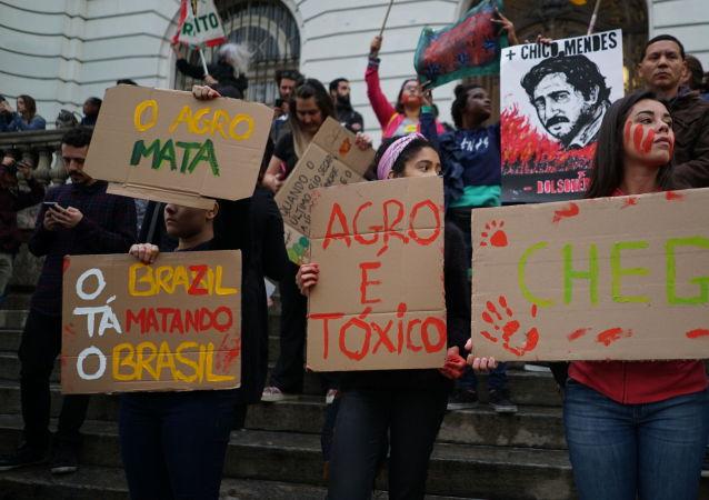 Ato em defesa da Amazônia no Rio de Janeiro.