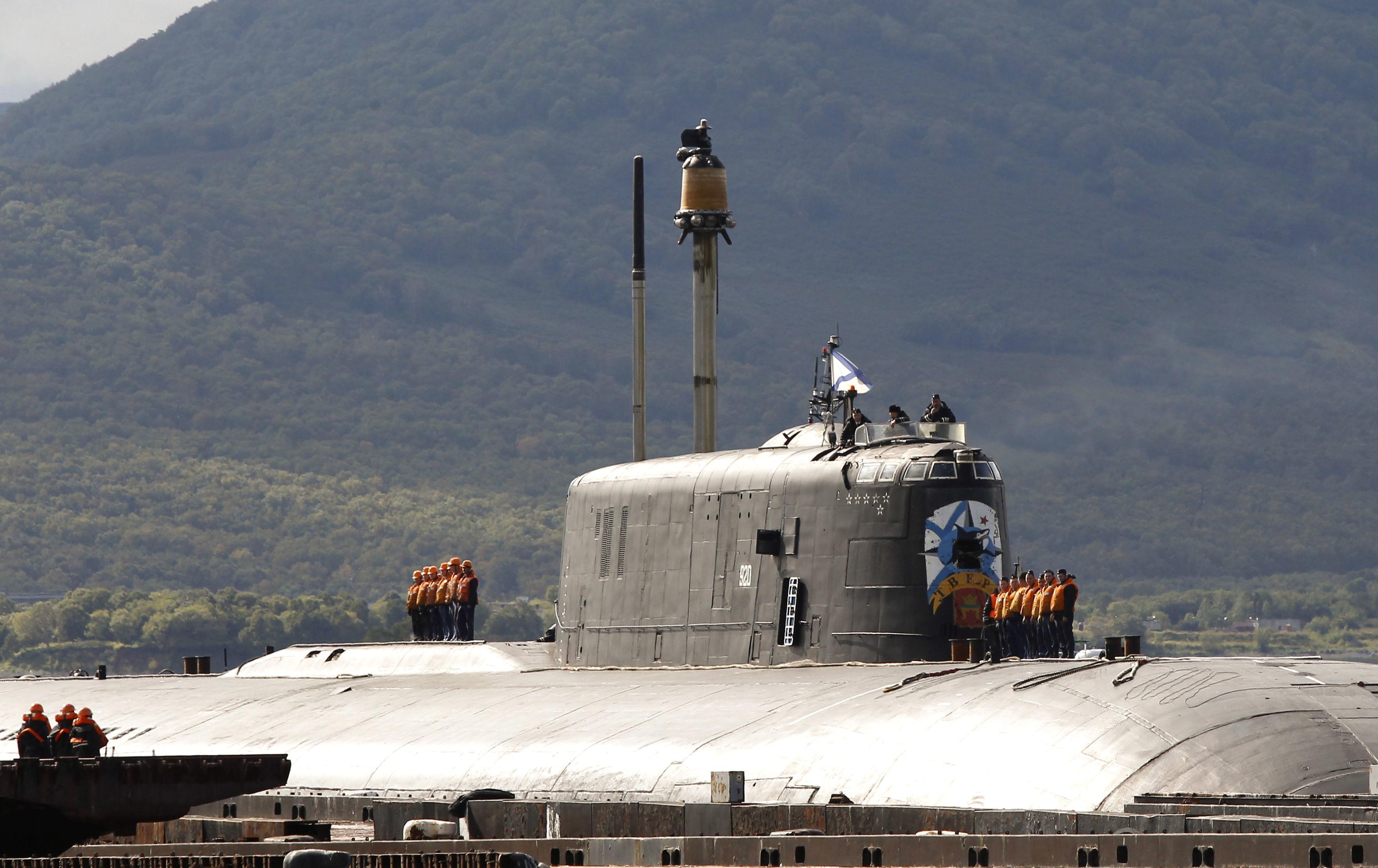 Submarino nuclear do projeto 949A na sua base permanente em Vilyuchinsk, na região de Kamchatka (imagem de arquivo)