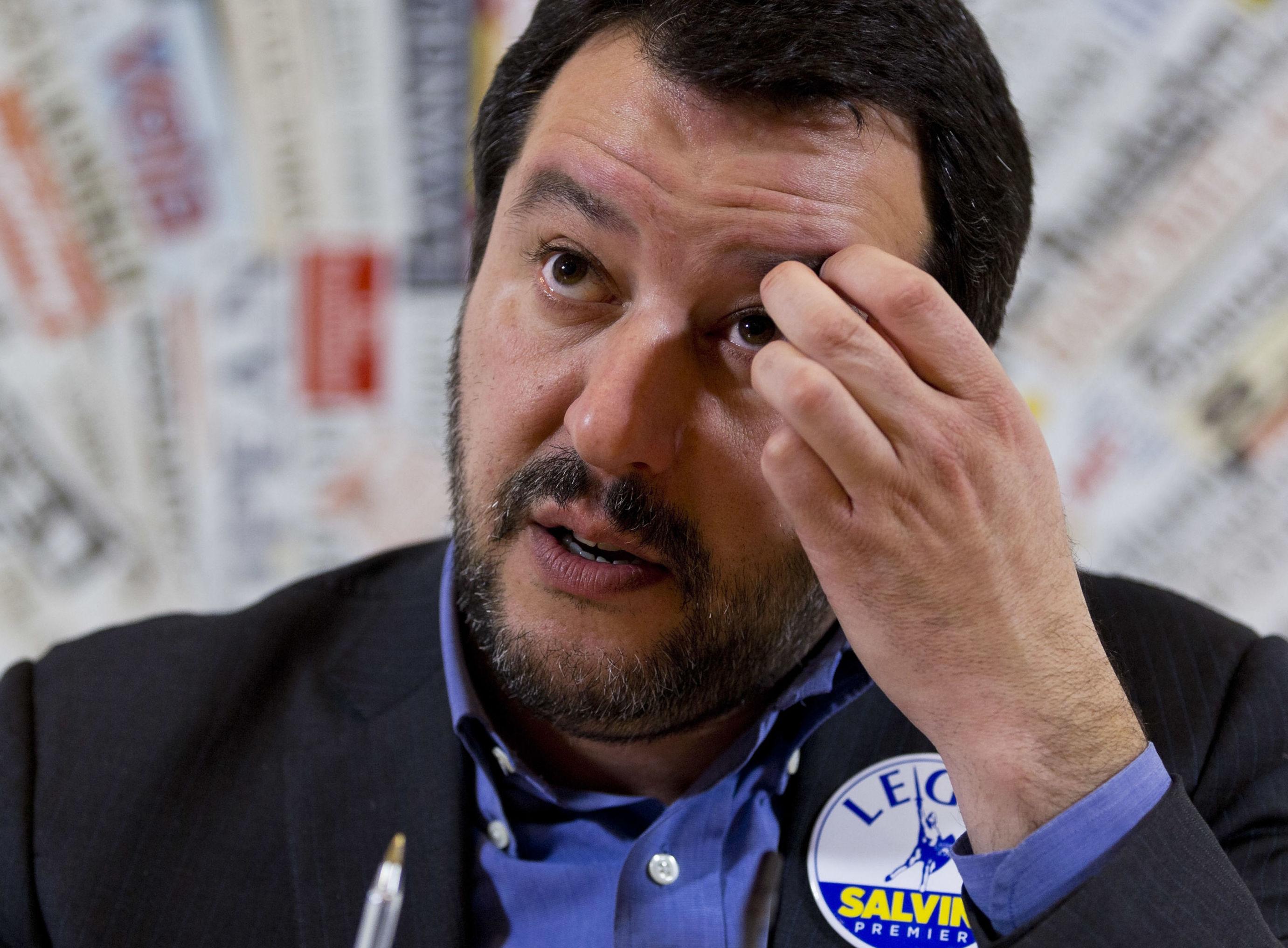 Matteo Salvini durante uma conferência de imprensa em Roma