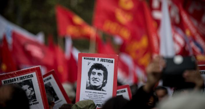 Manifestação contra o golpe militar de 1973 no Chile em 11 de Setembro de 2019.