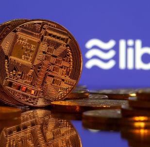Representação da moeda virtual do Facebook, a criptomoeda libra.
