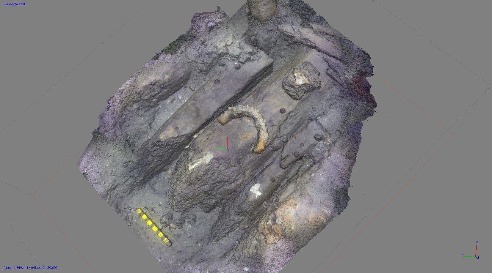 Mapeamento tridimensional do possível navio HMS Endeavour do capitão James Cook