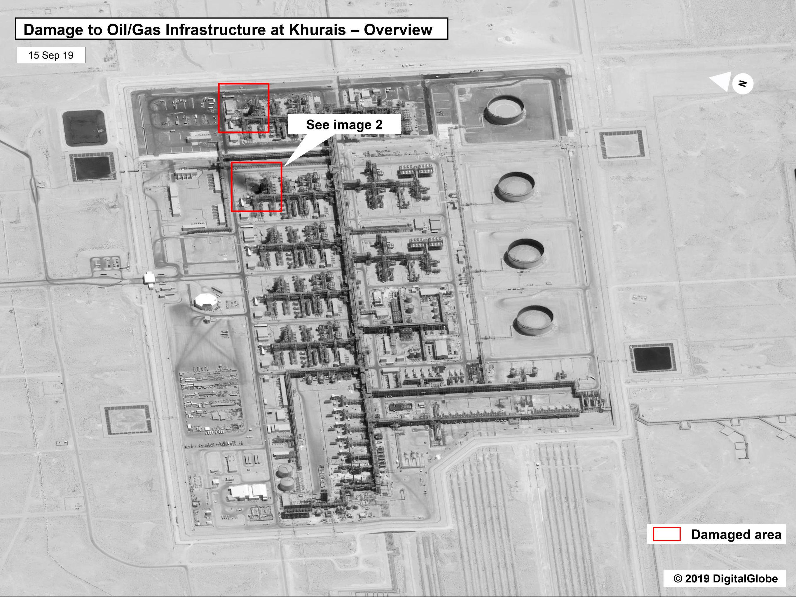 Fotografia, divulgada pelo governo dos EUA, mostra danos causados após ataque de drones à instalação de petróleo de Khurais, da Saudi Aramco, na Arábia Saudita
