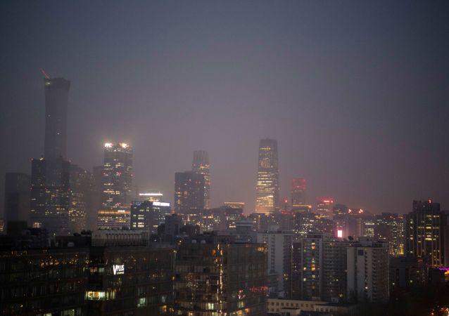 Vista para o centro financeiro e de negócios de Pequim