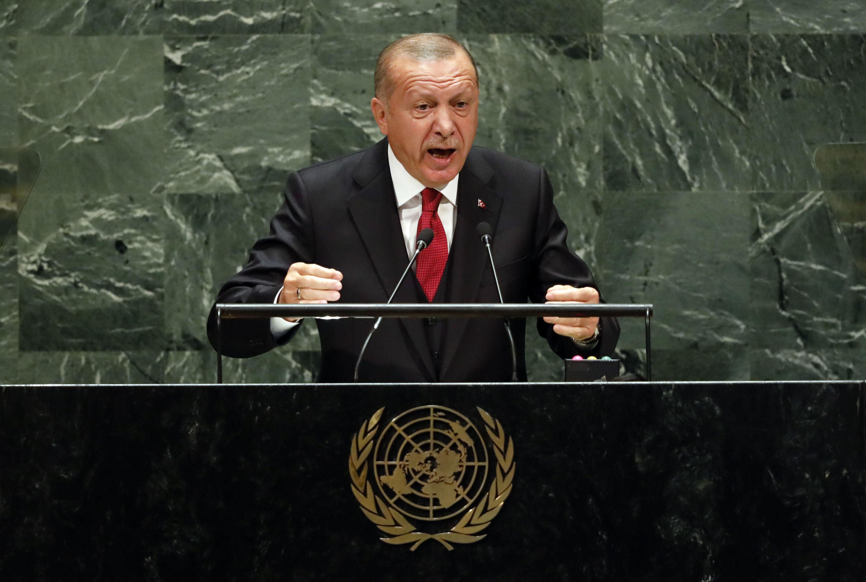 Presidente da Turquia, Recep Tayyip Erdogan, discursa na 74 Assembleia Geral da ONU, em 24 de setembro de 2019