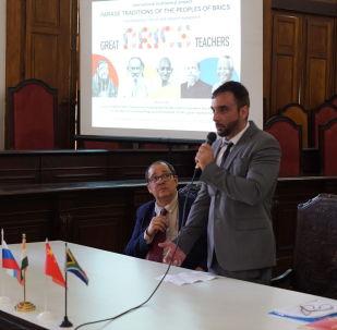 Leonardo Valente, diretor do Instituto de Relações Internacionais e Defesa da UFRJ, fala no evento The Great Teachers of BRICS