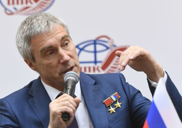 O cosmonauta russo Sergei Krikalev, diretor-executivo de programas espaciais tripulados da agência espacial russa Roscosmos durante conferência em Moscou no dia 17 de outubro de 2019.