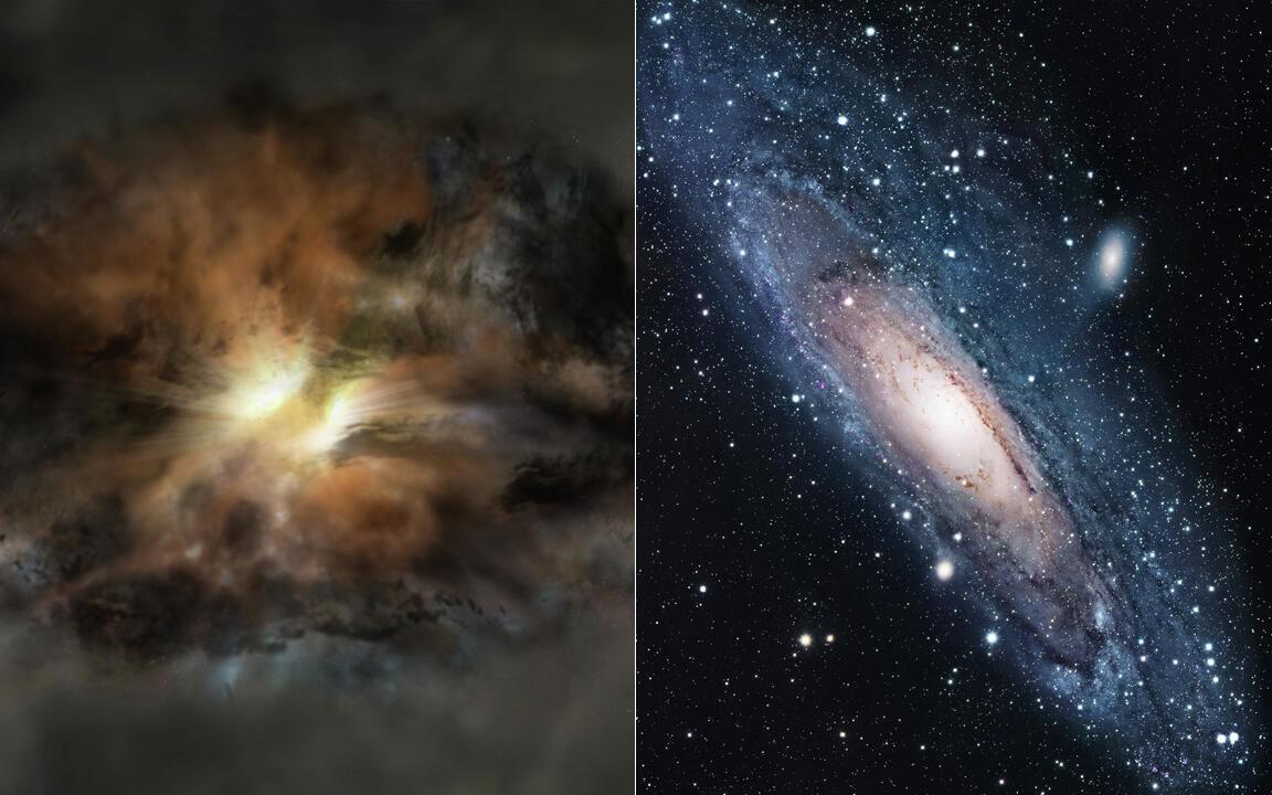 Galáxias canibais (W2246-0526 e Andrômeda)