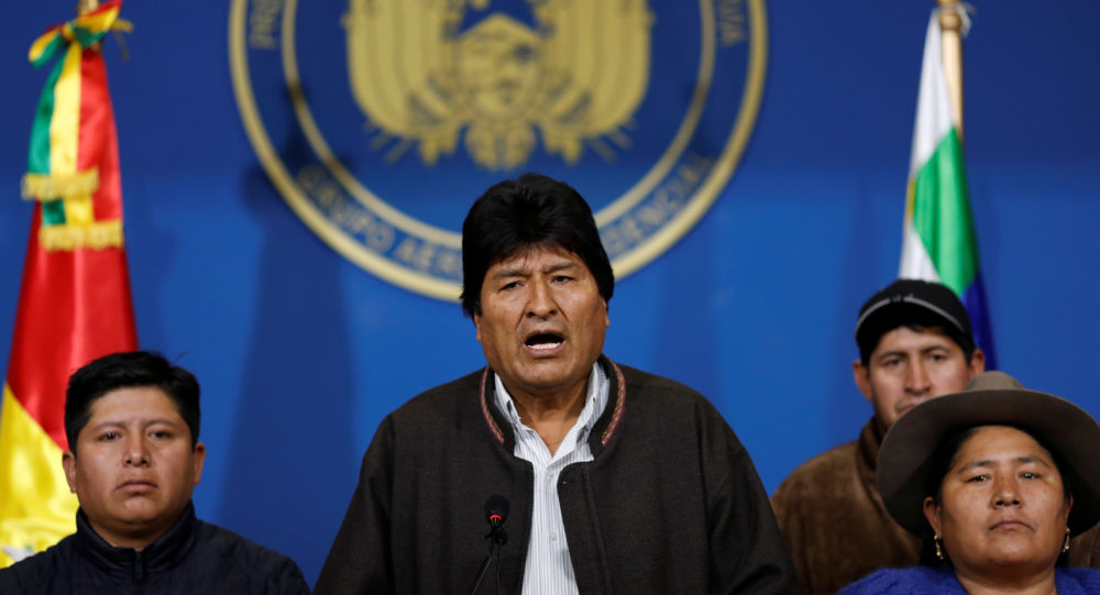 Presidente da Bolívia, Evo Morales, faz comunicado à imprensa