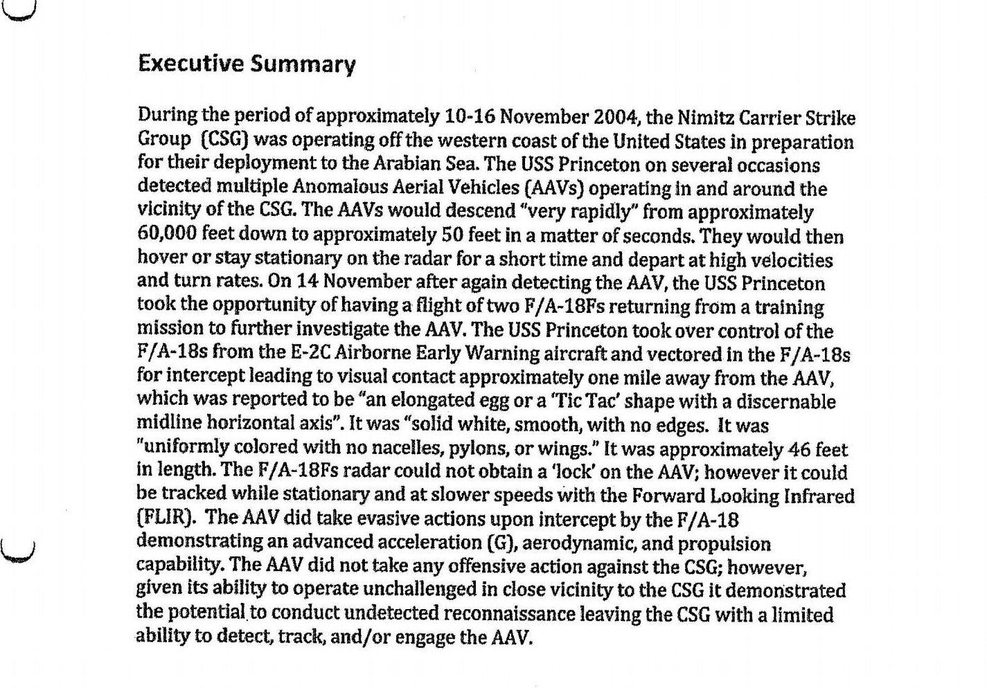 Relatório do Departamento de Defesa dos EUA sobre OVNI Tic Tac