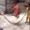 Pulando corda com cobra
