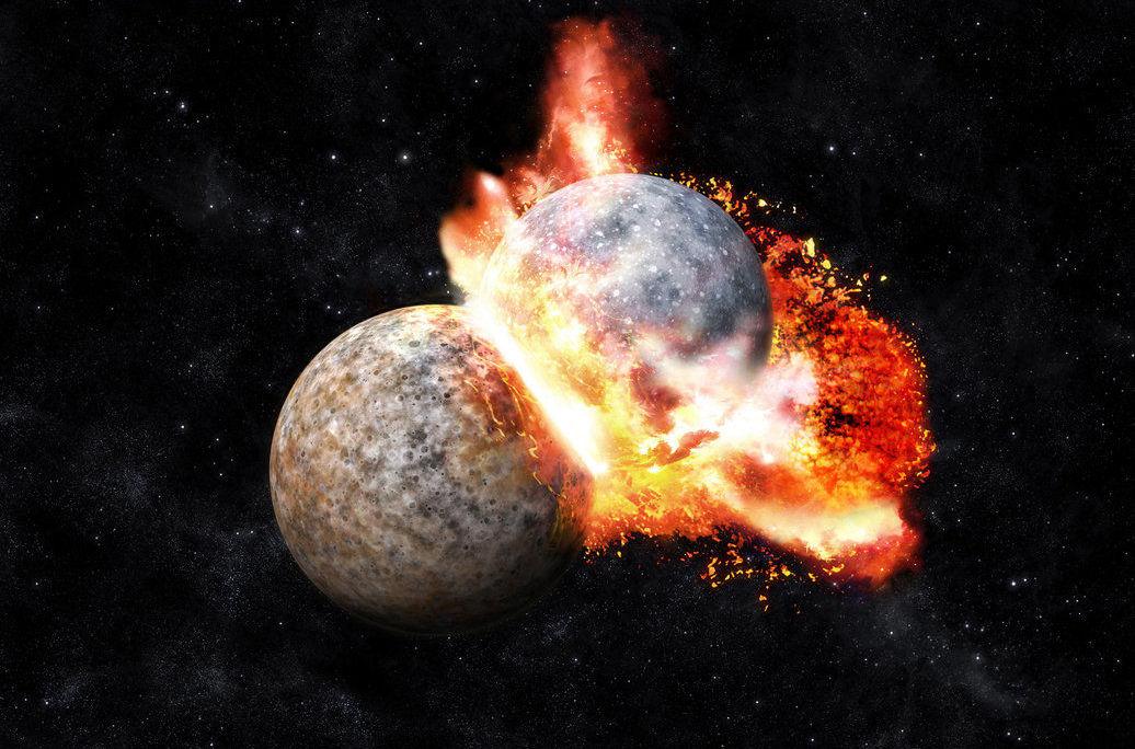 Imagem ilustrativa da colisão entre Terra e Theia