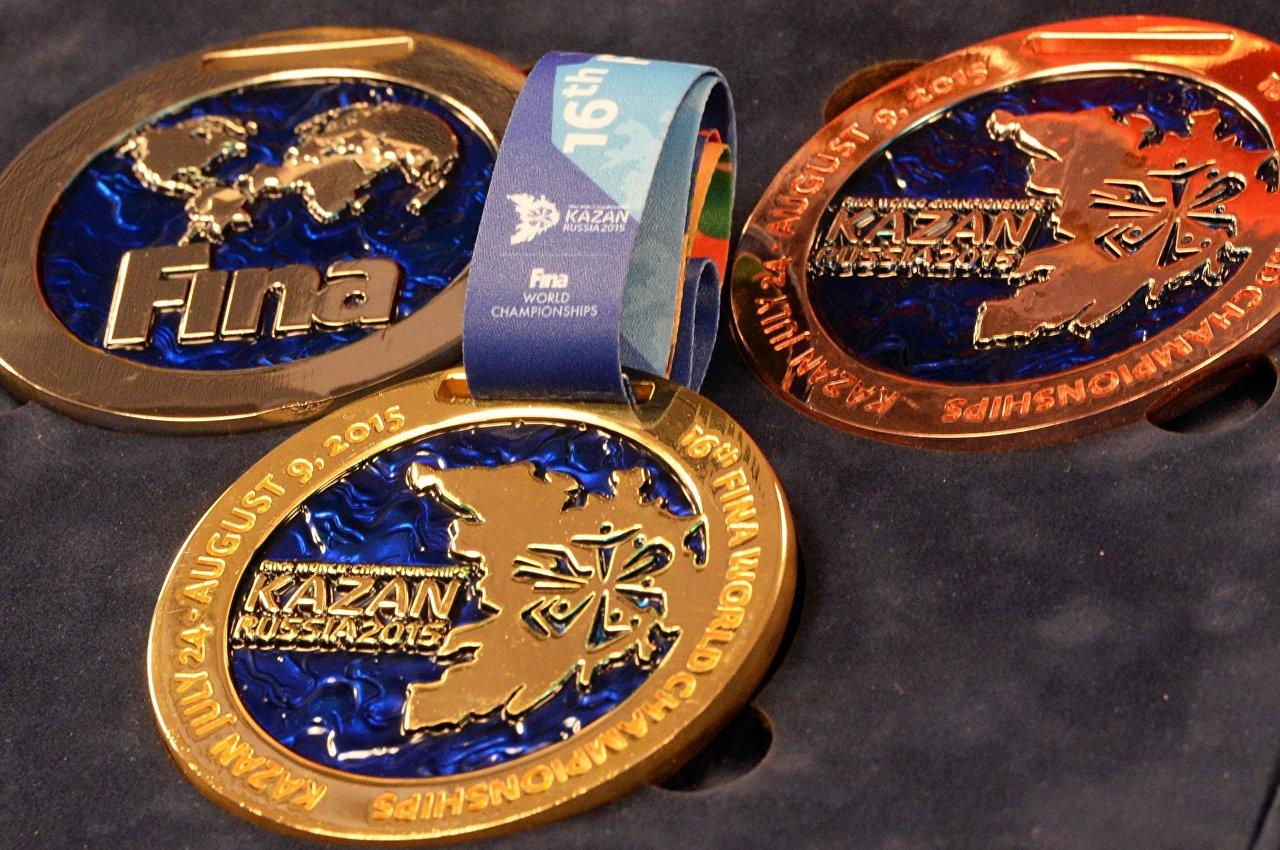 Apresentação de medalhas para Campeonato Mundial de Esportes Aquáticos 2015