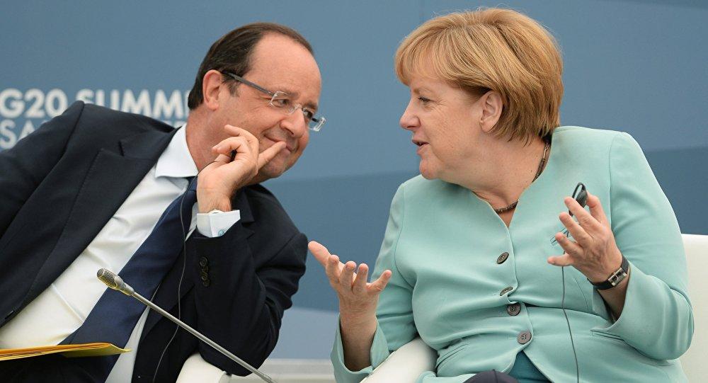 François Hollande e Angela Merkel na cúpula do G20