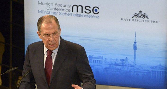 Ministro das relaçõe exteriores da Rússia Serguei Lavrov na 50ª Conferência de Segurança em Munique
