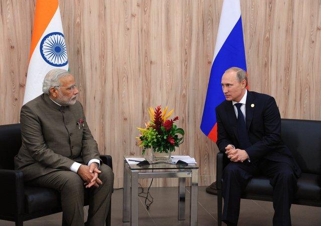 Presidente russo Vladimir Putin e Primeiro-Ministro da Índia Narendra Modi