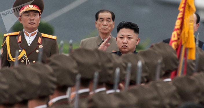 Kim Jong-un, líder da Coreia do Norte, na cerimônia de inauguração do Museu da Vitória na Guerra da Coreia, Pyongyang