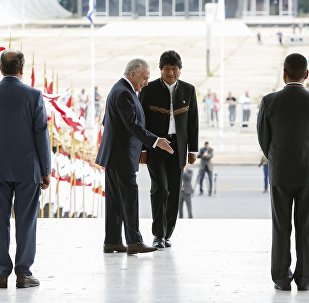 O presidente da Bolívia, Evo Morales, é recebido no Palácio do Planalto pelo presidente Michel Temer.