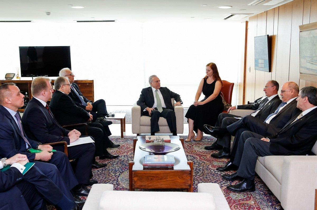 Presidente Temer reunido em Brasília com a delegação russa liderada pelo General Nikolay Patrushev