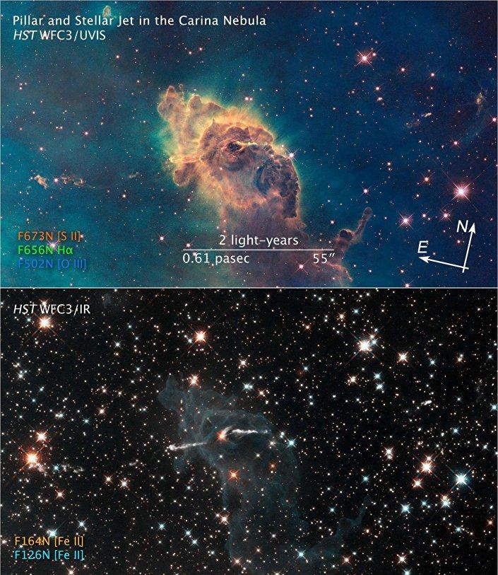 Camada de pó espacial com alguns anos-luz de comprimento que se localiza na nebulosa de Carina
