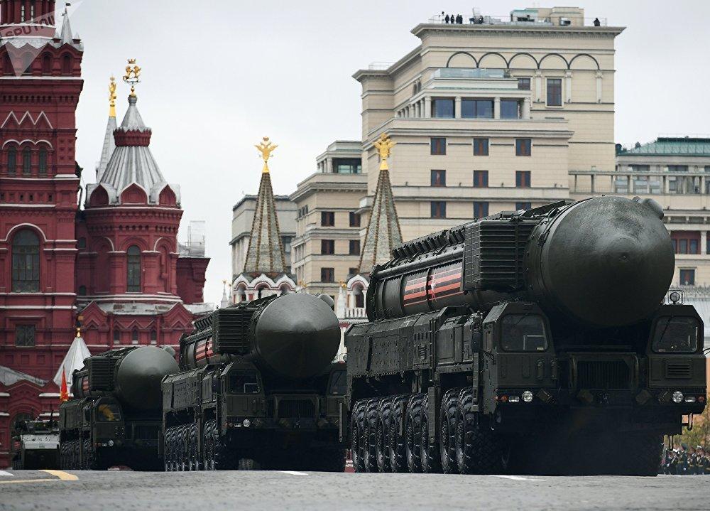Míssil balístico intercontinental RS-24 Yars durante a 72ª Parada da Vitória na Praça Vermelha, em Moscou