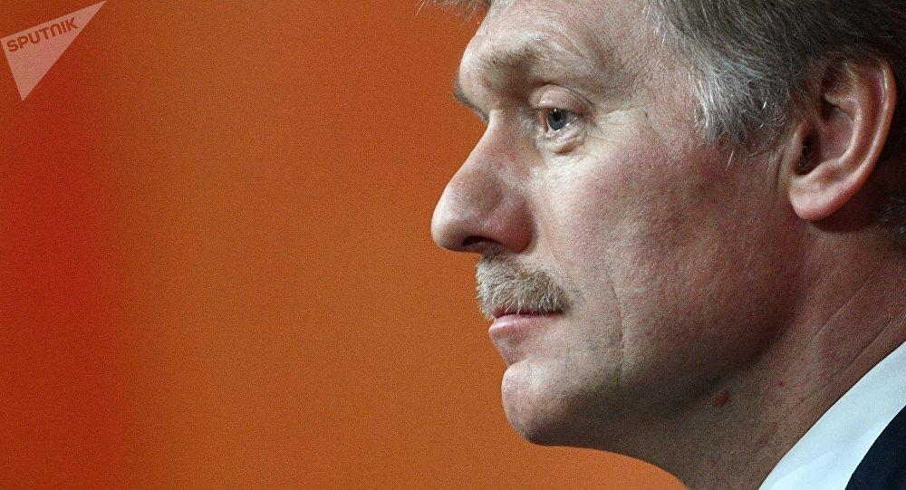Dmitry Peskov, secretário de imprensa de Vladimir Putin, visto durante coletiva do presidente russo em 14 de dezembro de 2017
