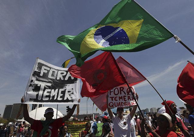 Protestos anti-Temer em Brasília, foto de arquivo