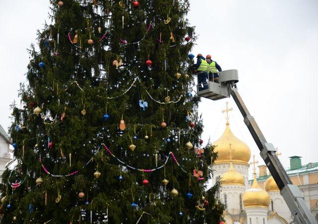 Empregados adornam a principal árvore de Natal no país, na praça das Catedrais, no Kremlin