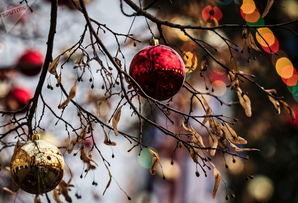 Adornos natalinos em uma árvore em parque de Moscou