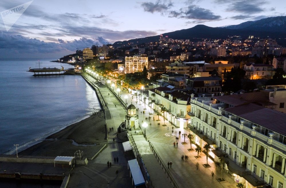 Cais na cidade de Yalta, na Crimeia