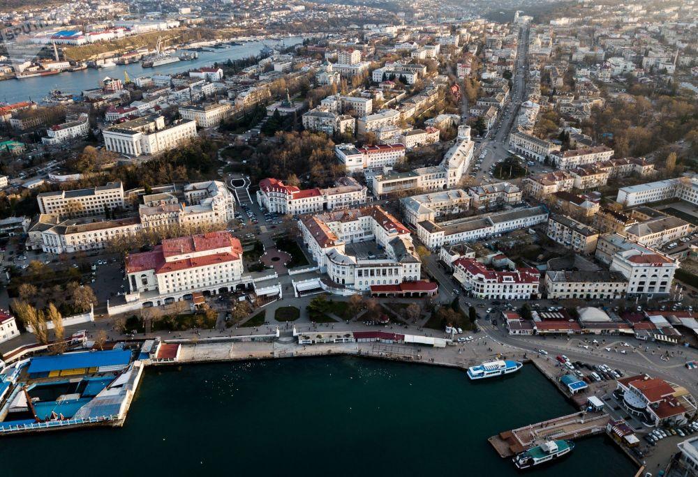 Vista aérea da cidade de Sevastopol, na Crimeia
