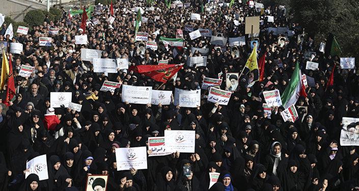 Protestos antigovernamentais em Teerã, em 30 de dezembro de 2017