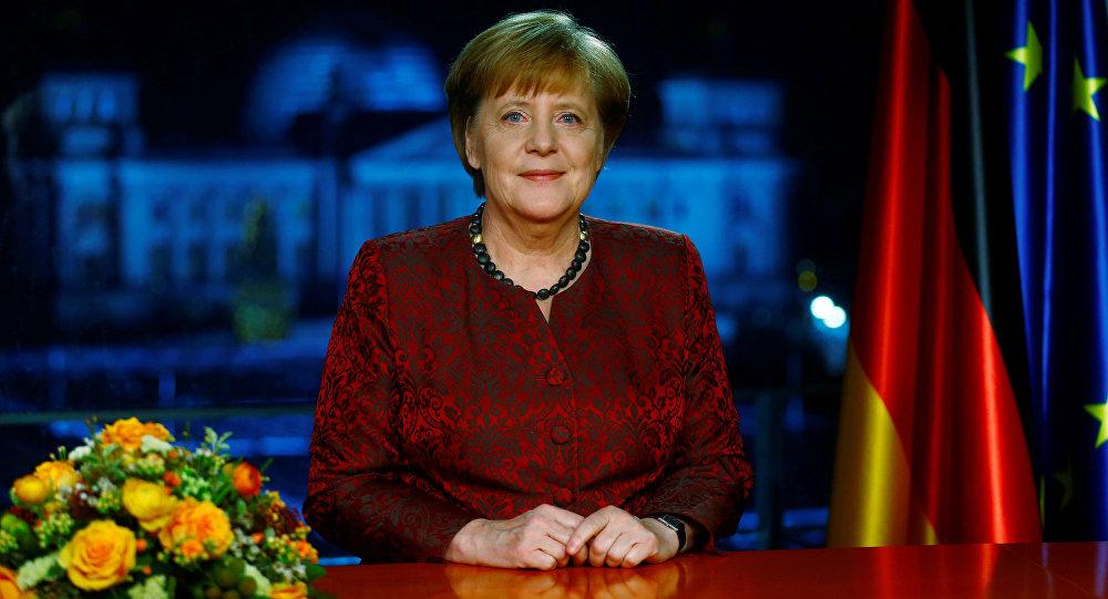 Angela Merkel durante discurso de Ano Novo.
