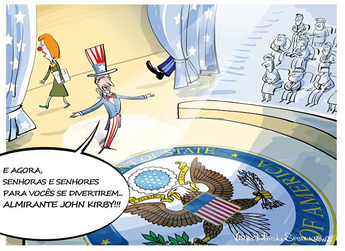 Charge sobre a nomeação do novo secretário de Estado dos EUA, John Kirby