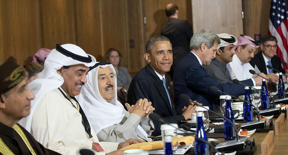 Barack Obama, John Kerry e líderes de vários países árabes do golfo Pérsico durante encontro em Camp David em 14 de maio de 2015.