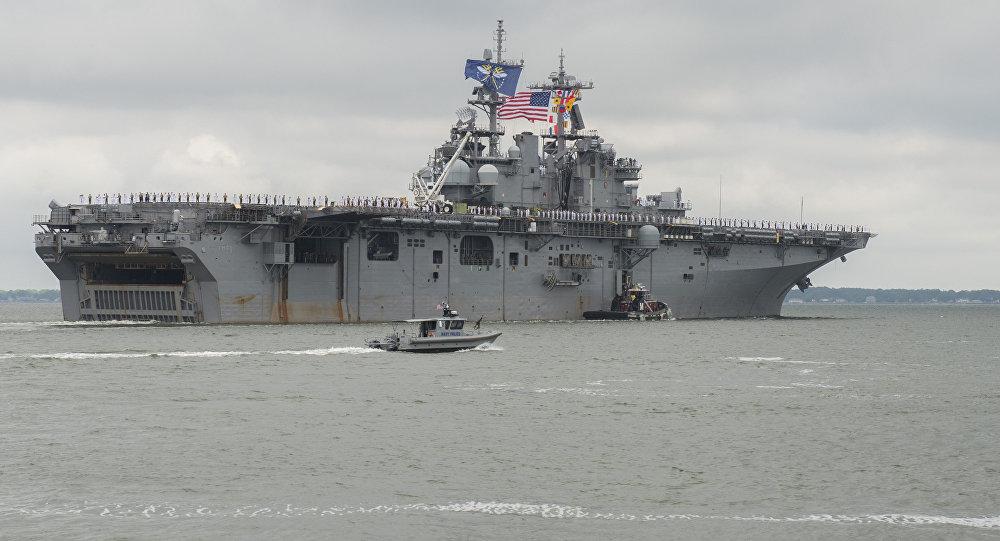Navio de assalto anfíbio USS Wasp da Marinha dos EUA (imagem referencial)