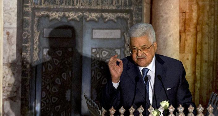 Mahmoud Abbas, presidente palestino, é visto durante um discurso pronunciado no Centro de Conferências Al-Azhar, no Cairo, em 17 de janeiro de 2018