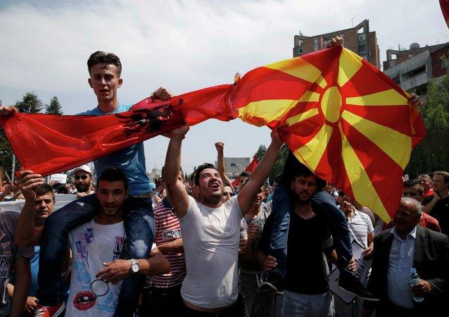 Protesto antigovernamental em Skopje, Macedônia, 17 de maio, 2015
