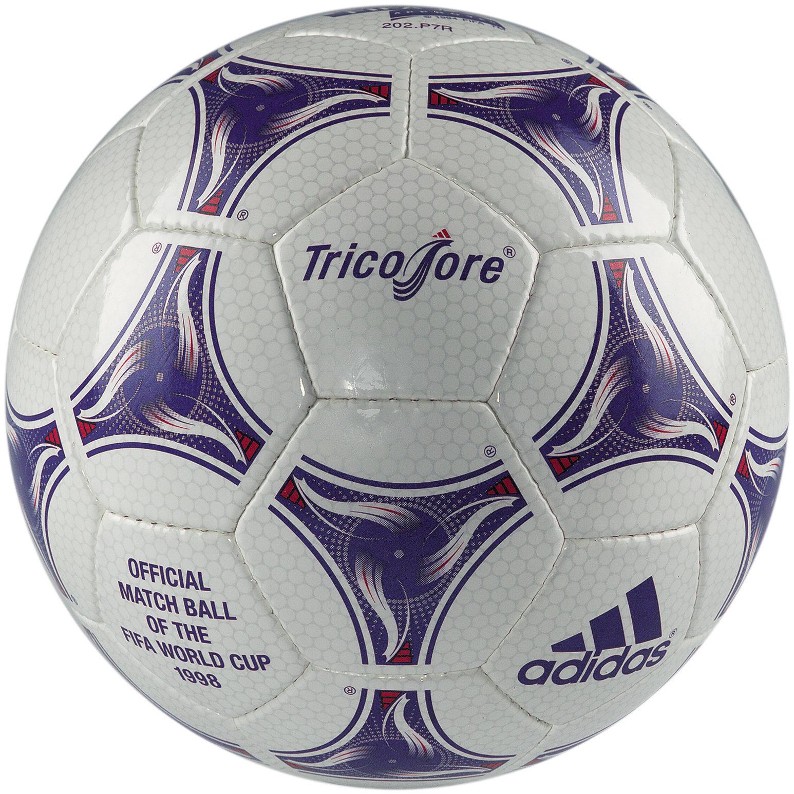 Tricolore, a bola utilizada na Copa do Mundo da França, em 1998.
