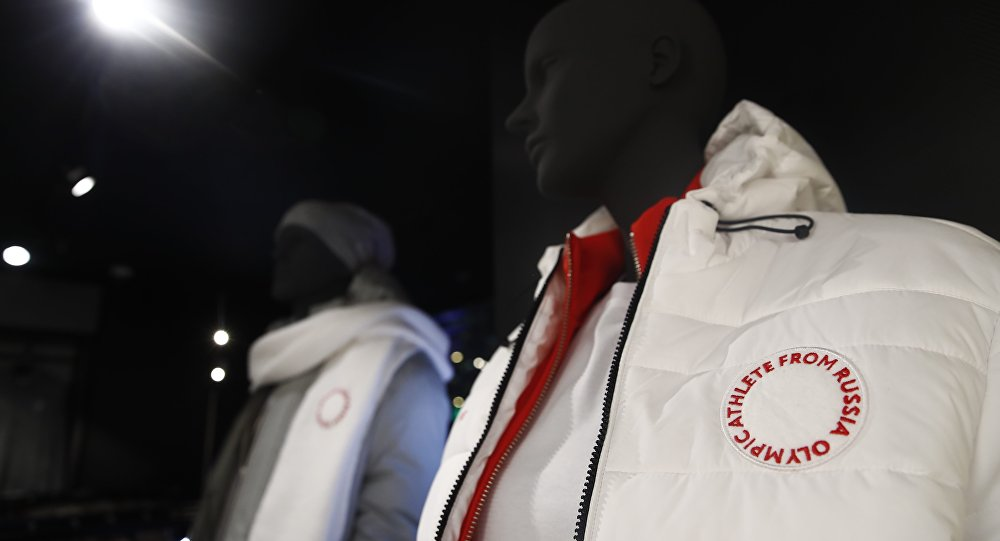 Mannequins dressed in the outfit designed by ZASPORT, the official clothing supplier for national athletes competing in 2018 Winter Olympics, are displayed during the uniforms presentation in Moscow, Russia January 22, 2018