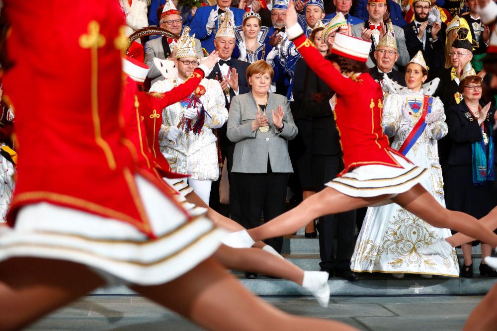 Chanceler alemã Angela Merkel assiste recepção de comunidades alemãs em Berlin