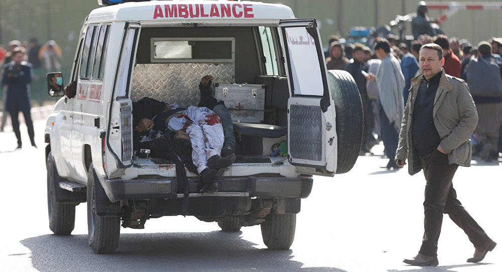 Victims are carried away in an ambulance after a blast in Kabul, Afghanistan January 27, 2018.